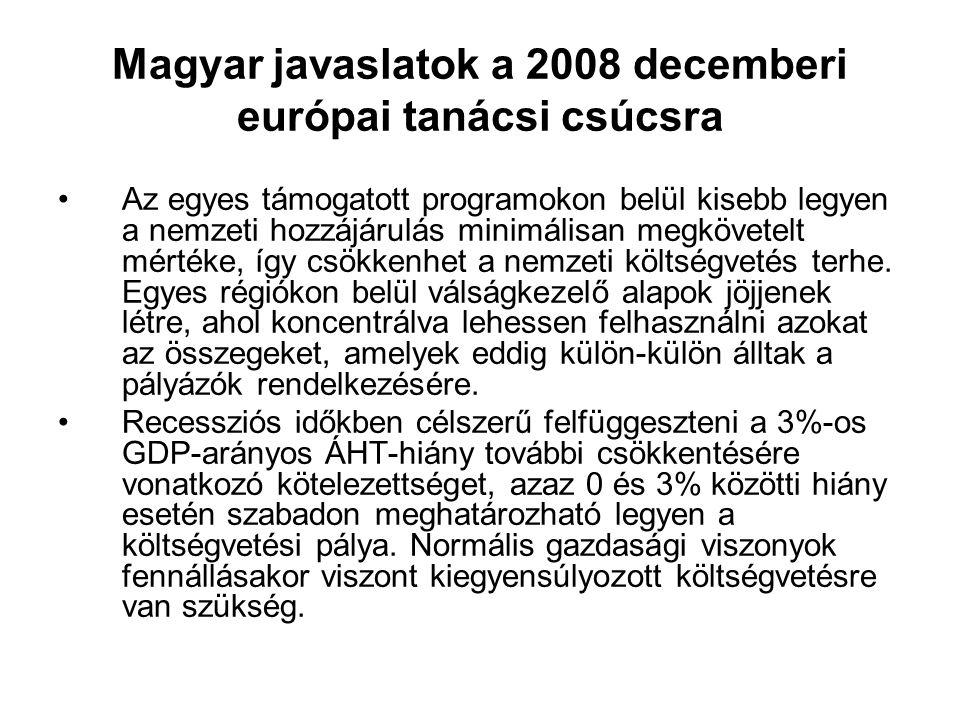 Magyar javaslatok a 2008 decemberi európai tanácsi csúcsra Az egyes támogatott programokon belül kisebb legyen a nemzeti hozzájárulás minimálisan megkövetelt mértéke, így csökkenhet a nemzeti költségvetés terhe.