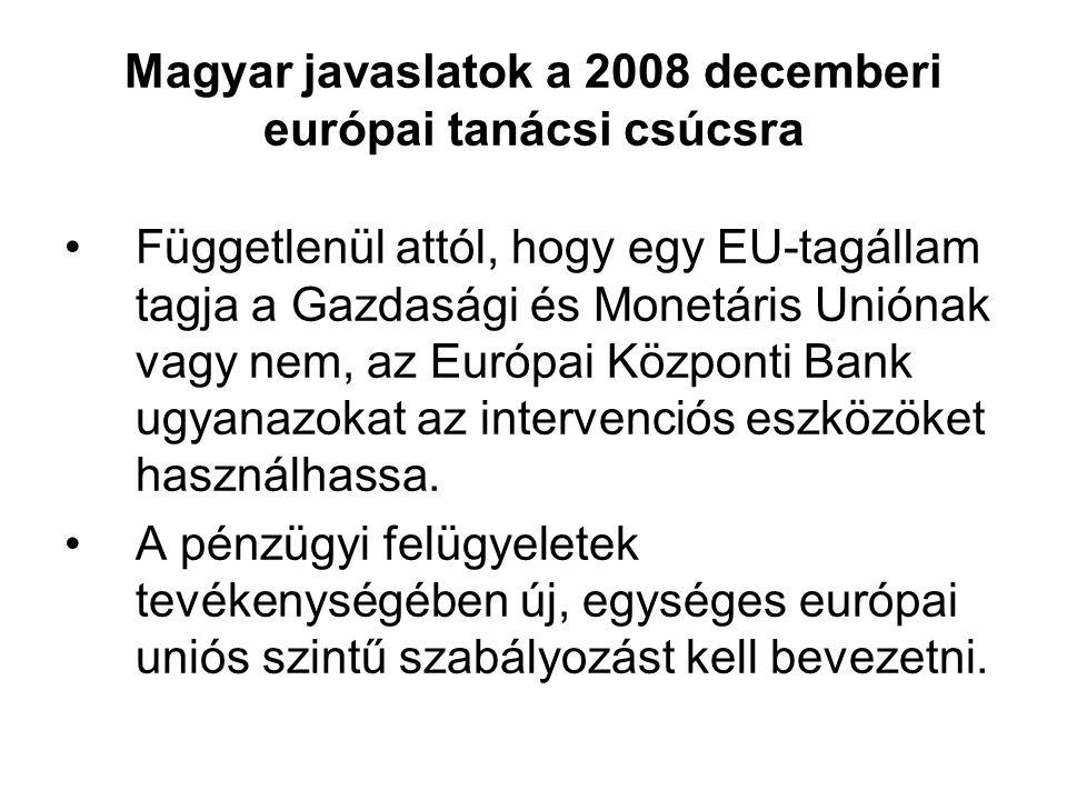 Magyar javaslatok a 2008 decemberi európai tanácsi csúcsra Függetlenül attól, hogy egy EU-tagállam tagja a Gazdasági és Monetáris Uniónak vagy nem, az Európai Központi Bank ugyanazokat az intervenciós eszközöket használhassa.