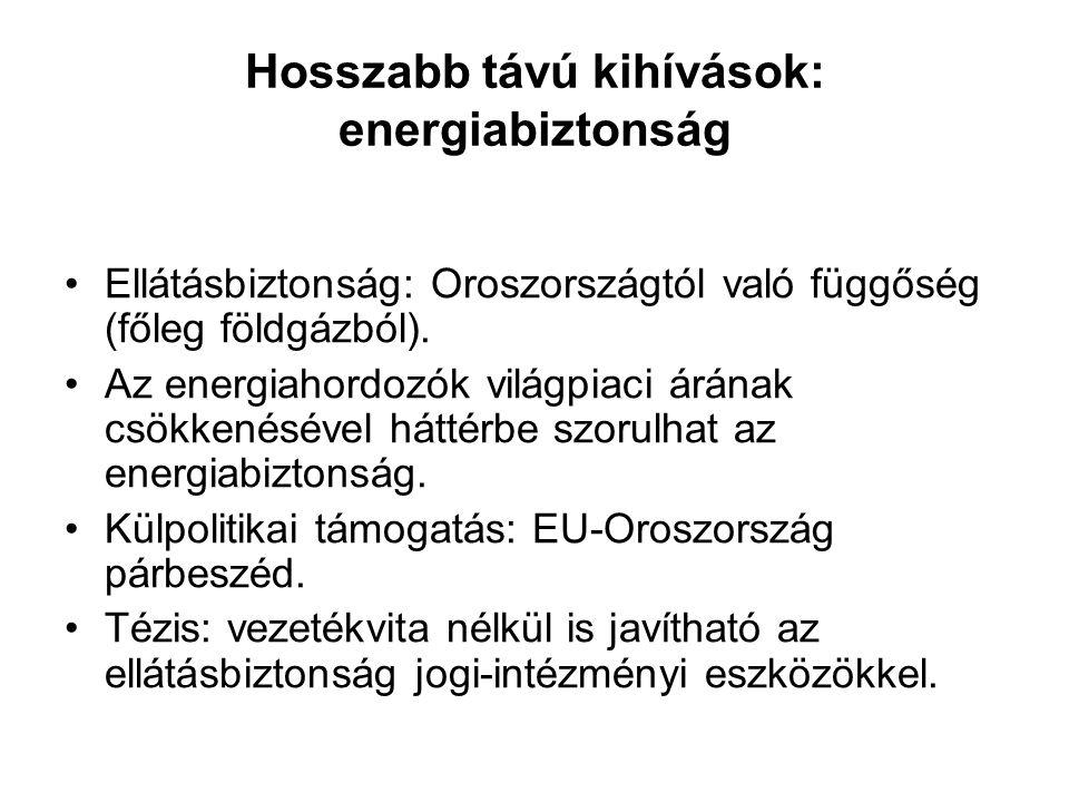 Hosszabb távú kihívások: energiabiztonság Ellátásbiztonság: Oroszországtól való függőség (főleg földgázból).