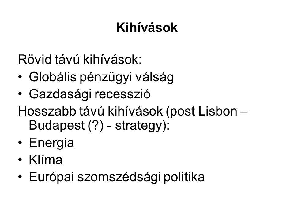 Kihívások Rövid távú kihívások: Globális pénzügyi válság Gazdasági recesszió Hosszabb távú kihívások (post Lisbon – Budapest ( ) - strategy): Energia Klíma Európai szomszédsági politika