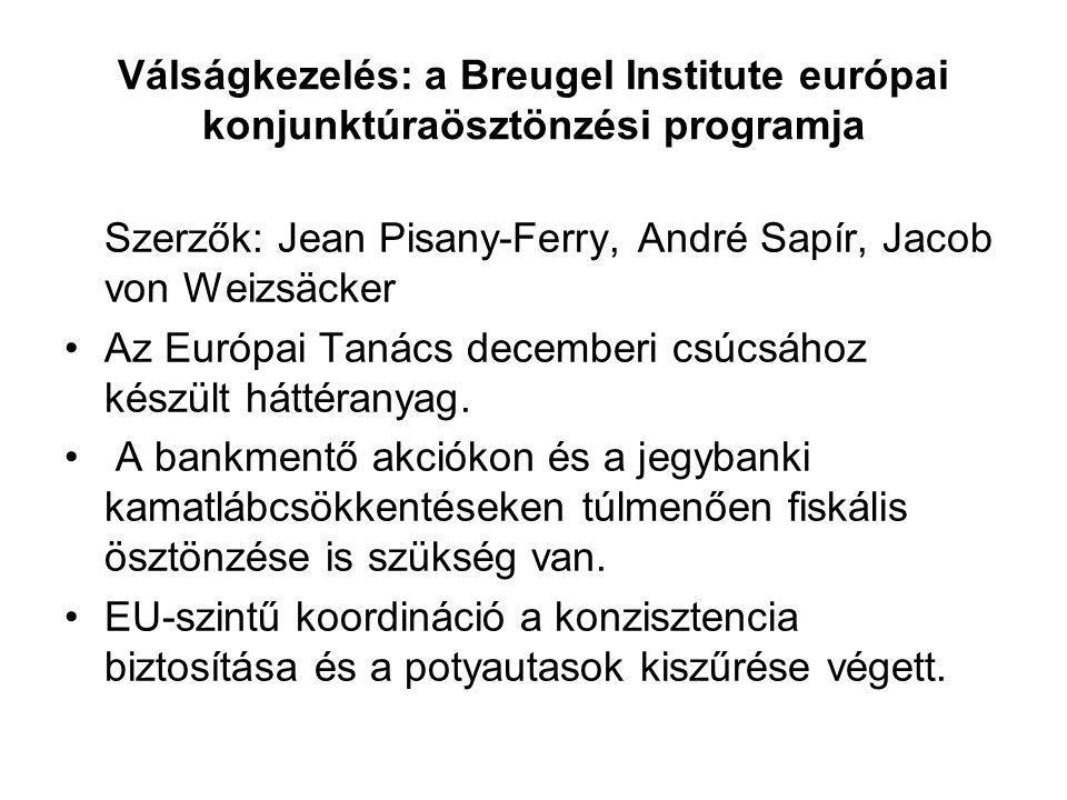 Válságkezelés: a Breugel Institute európai konjunktúraösztönzési programja Szerzők: Jean Pisany-Ferry, André Sapír, Jacob von Weizsäcker Az Európai Tanács decemberi csúcsához készült háttéranyag.