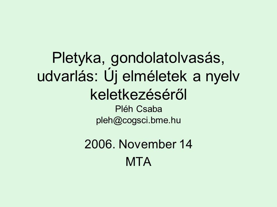 Pletyka, gondolatolvasás, udvarlás: Új elméletek a nyelv keletkezéséről Pléh Csaba pleh@cogsci.bme.hu 2006. November 14 MTA