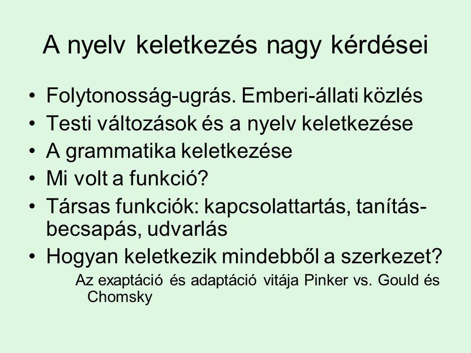 A nyelv keletkezés nagy kérdései Folytonosság-ugrás. Emberi-állati közlés Testi változások és a nyelv keletkezése A grammatika keletkezése Mi volt a f