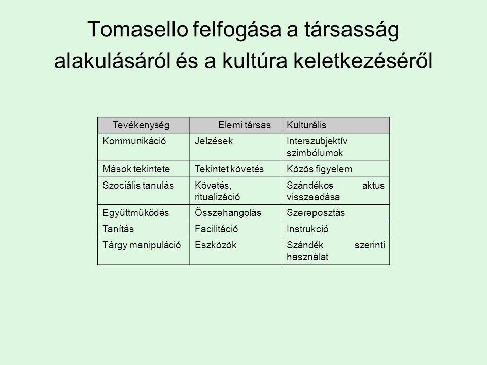 Tevékenység Elemi társasKulturális KommunikációJelzésekInterszubjektív szimbólumok Mások tekinteteTekintet követésKözös figyelem Szociális tanulásKövetés, ritualizáció Szándékos aktus visszaadása EgyüttműködésÖsszehangolásSzereposztás TanításFacilitációInstrukció Tárgy manipulációEszközökSzándék szerinti használat Tomasello felfogása a társasság alakulásáról és a kultúra keletkezéséről