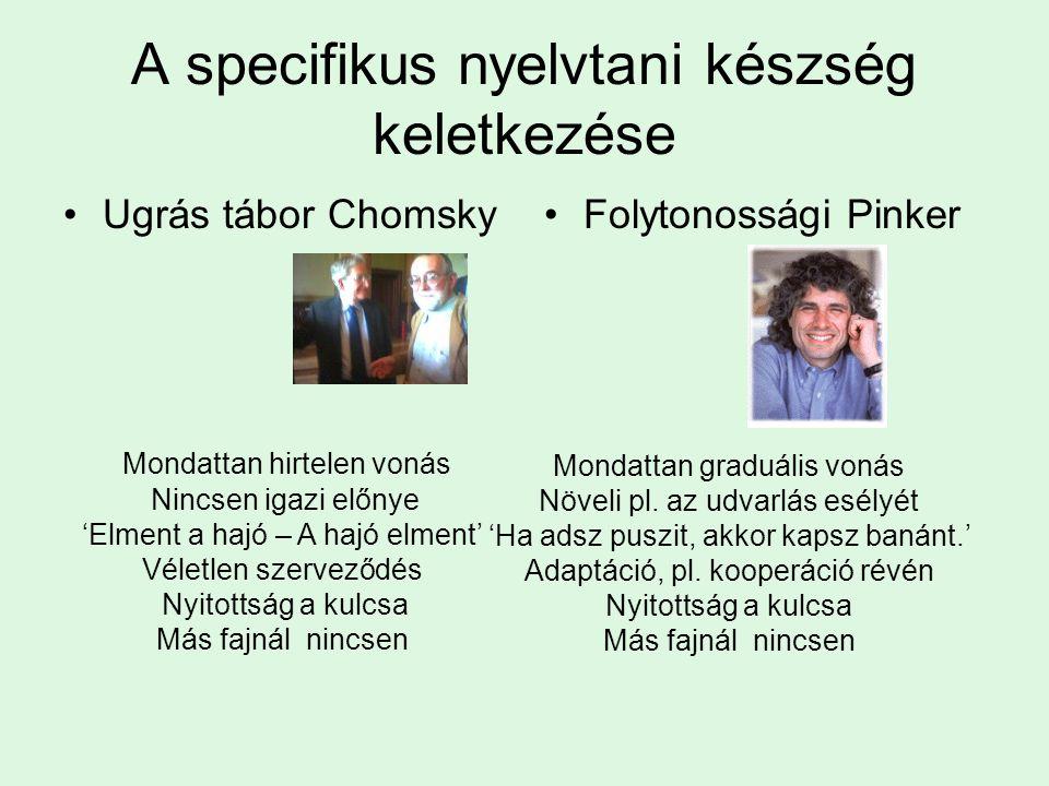 A specifikus nyelvtani készség keletkezése Ugrás tábor ChomskyFolytonossági Pinker Mondattan hirtelen vonás Nincsen igazi előnye 'Elment a hajó – A hajó elment' Véletlen szerveződés Nyitottság a kulcsa Más fajnál nincsen Mondattan graduális vonás Növeli pl.