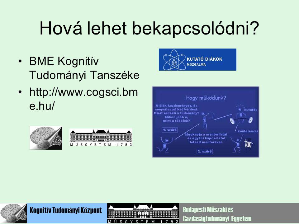 Kognitív Tudományi Központ Budapesti Műszaki és Gazdaságtudományi Egyetem Hová lehet bekapcsolódni? BME Kognitív Tudományi Tanszéke http://www.cogsci.