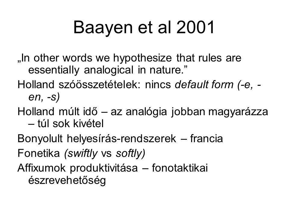 Baayen graded morphology –Szubjektív döntések –Priming hatások (fonológiai és morfológiai) Word and paradigm morphology A tövek és az affixumok kialakíthatják a saját független reprezentációjukat a paradigmatikus analógia alapján Szócsaládok létrejötte – befolyásolja a felismerést