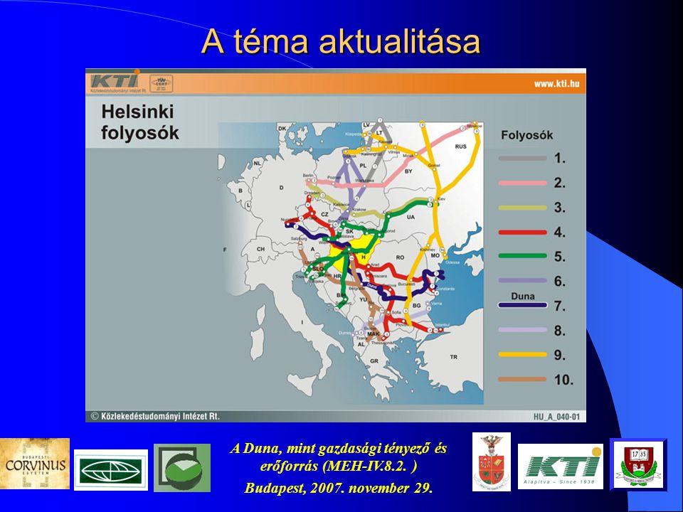 A Duna, mint gazdasági tényező és erőforrás (MEH-IV.8.2. ) Budapest, 2007. november 29. Az érintett körzetek Atlanti körzet Baltikum Belső gerinchálóz