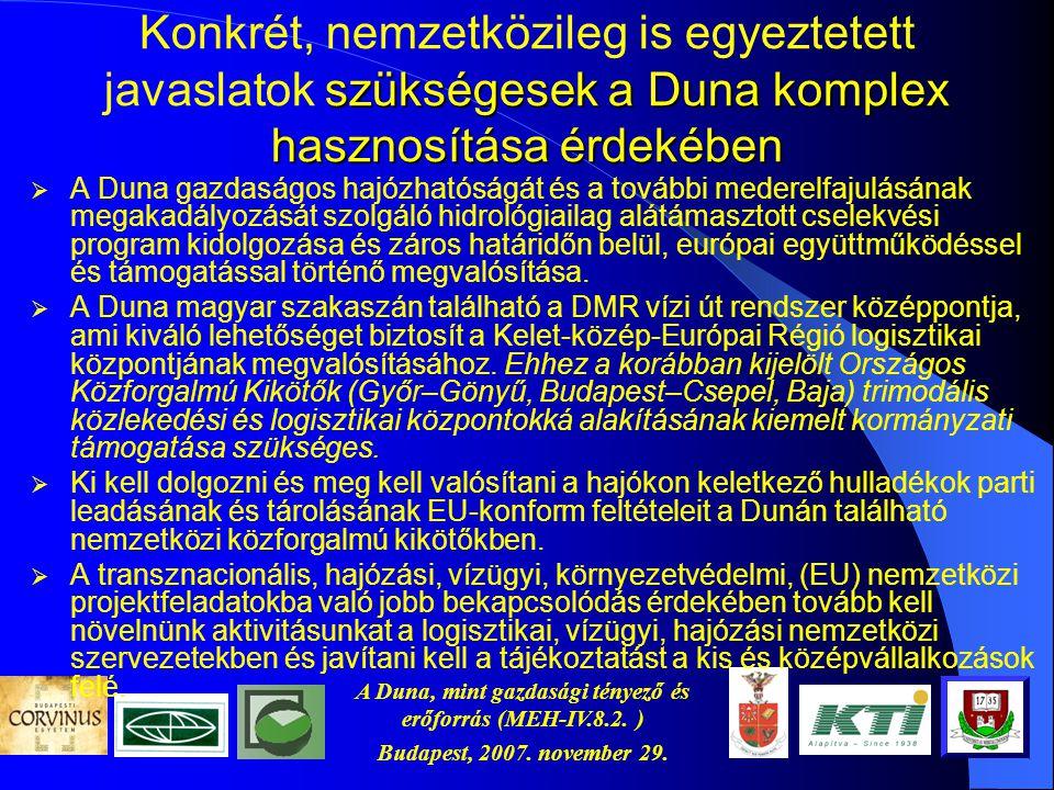 A Duna, mint gazdasági tényező és erőforrás (MEH-IV.8.2. ) Budapest, 2007. november 29. A hazai helyzet  Magyarország nem csak az elég mély medret, d