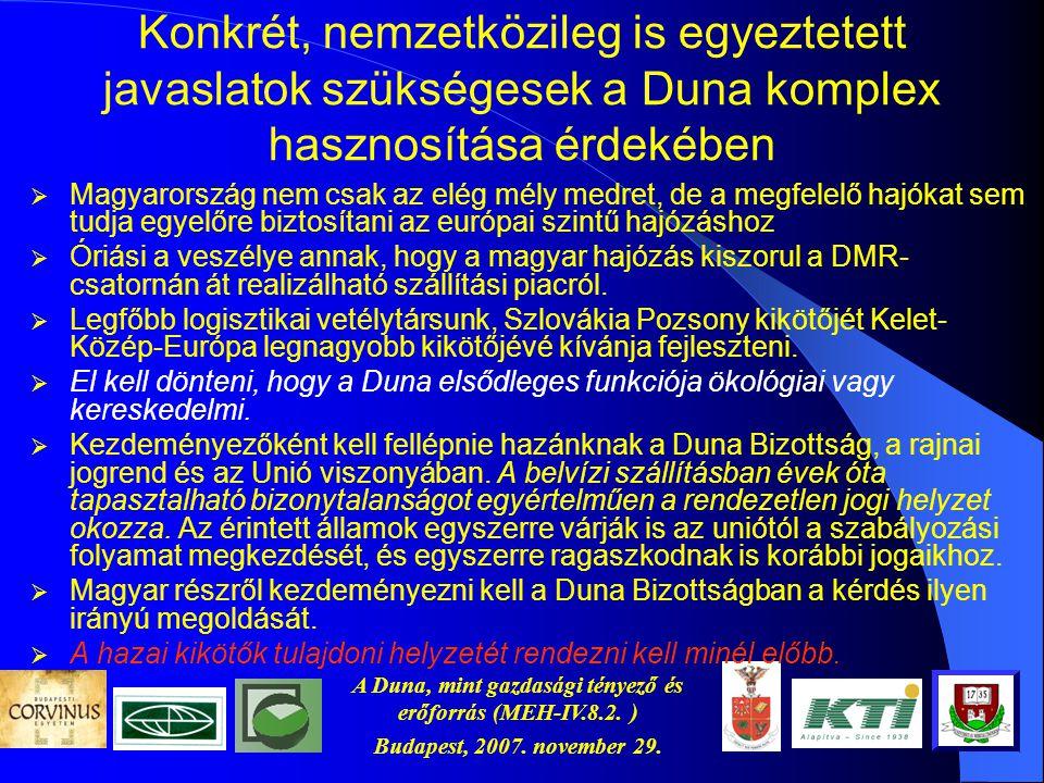 A Duna, mint gazdasági tényező és erőforrás (MEH-IV.8.2. ) Budapest, 2007. november 29. szükségesek a Duna komplex hasznosítása érdekében Konkrét, nem