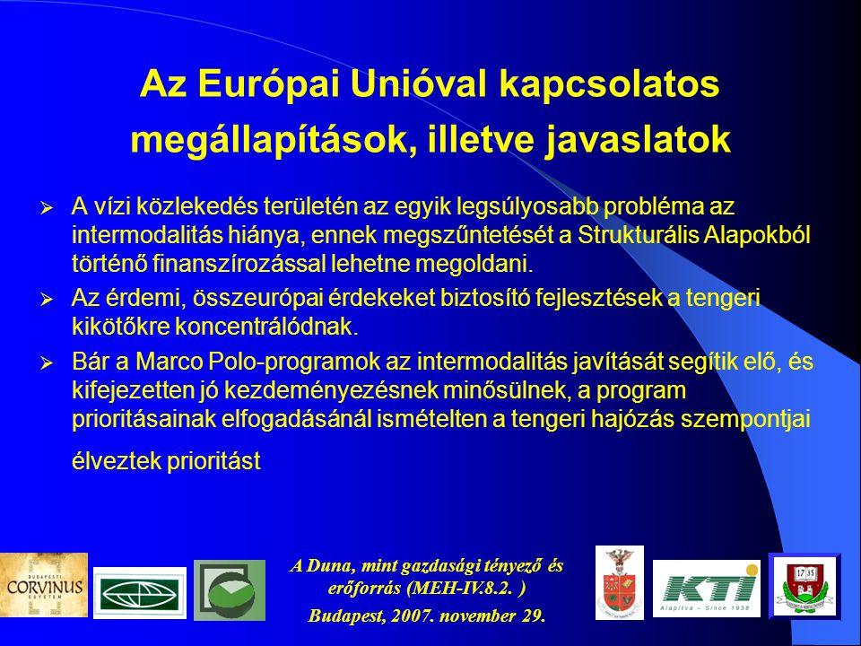 A Duna, mint gazdasági tényező és erőforrás (MEH-IV.8.2. ) Budapest, 2007. november 29. Az Európai Unióval kapcsolatos megállapítások, illetve javasla