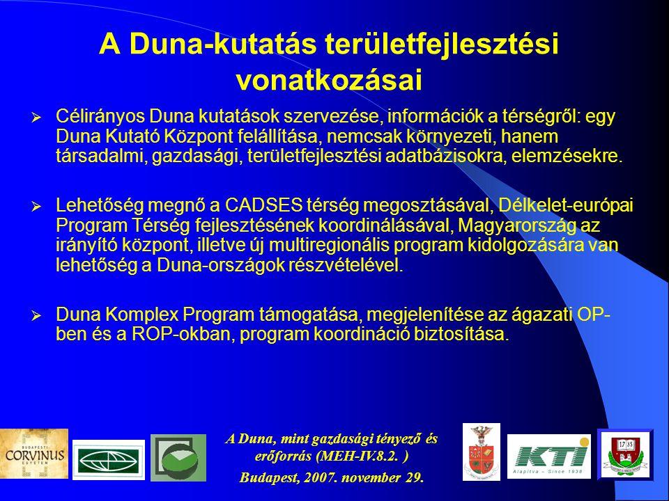 A Duna, mint gazdasági tényező és erőforrás (MEH-IV.8.2. ) Budapest, 2007. november 29. A Duna-kutatás területfejlesztési vonatkozásai  EU csatlakozá