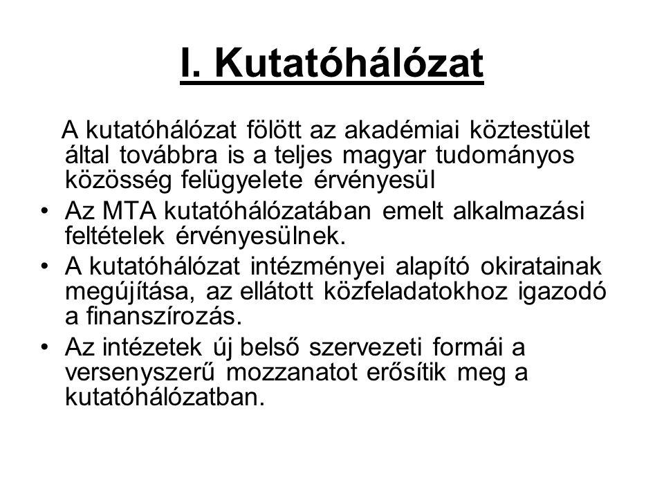 I. Kutatóhálózat A kutatóhálózat fölött az akadémiai köztestület által továbbra is a teljes magyar tudományos közösség felügyelete érvényesül Az MTA k