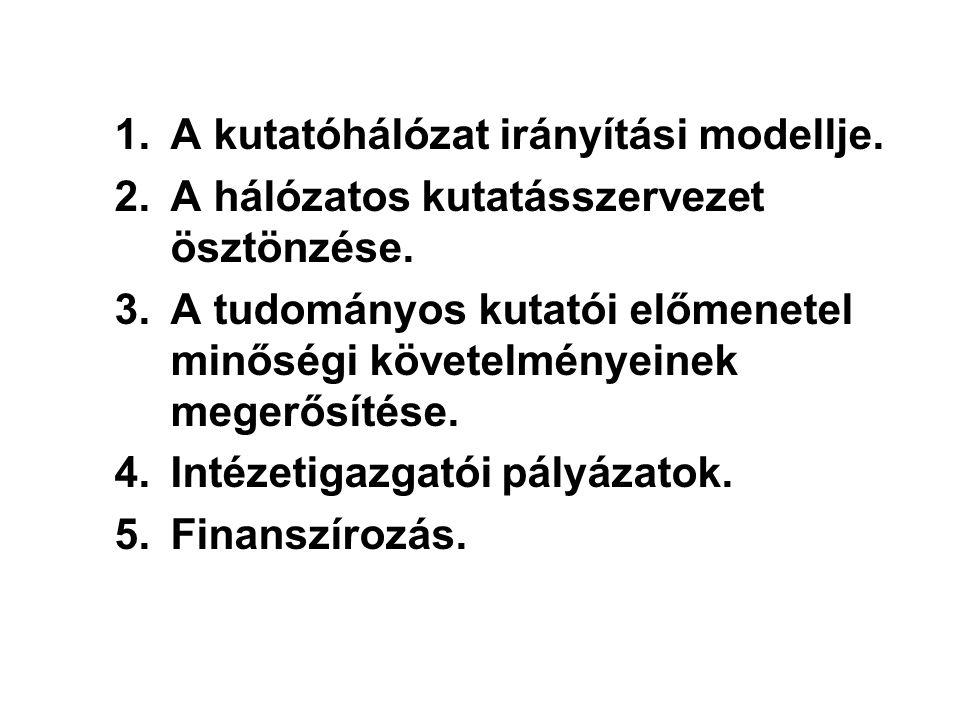 1.A kutatóhálózat irányítási modellje. 2.A hálózatos kutatásszervezet ösztönzése. 3.A tudományos kutatói előmenetel minőségi követelményeinek megerősí