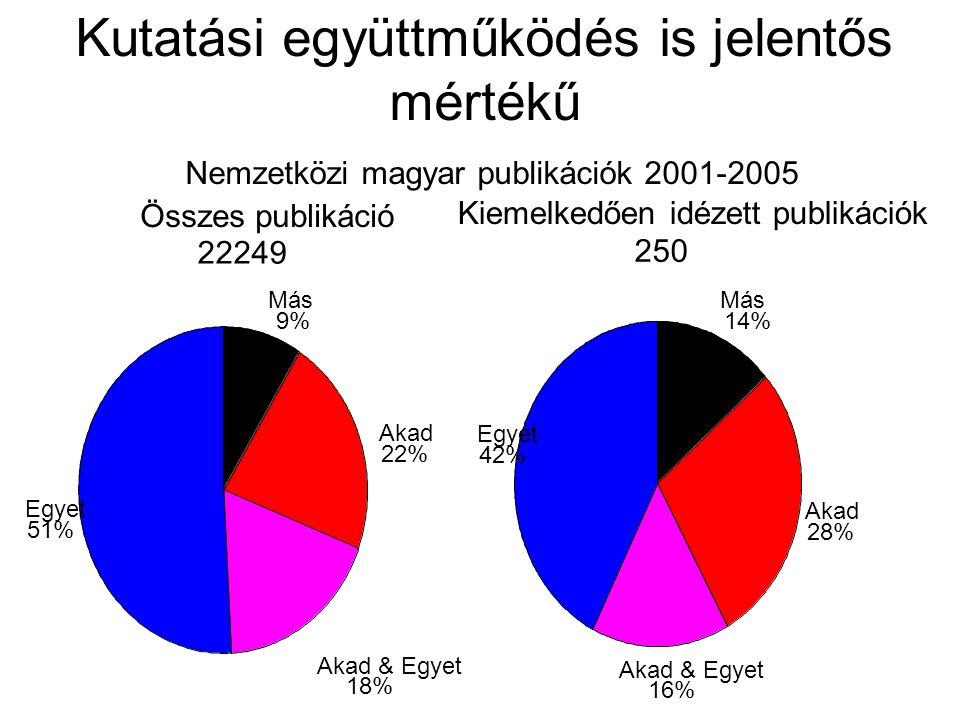 Kutatási együttműködés is jelentős mértékű Nemzetközi magyar publikációk 2001-2005 Összes publikáció 22249 Más 9% Akad 22% Akad & Egyet 18% Egyet 51% Kiemelkedően idézett publikációk 250 Más 14% Akad 28% Akad & Egyet 16% Egyet 42%