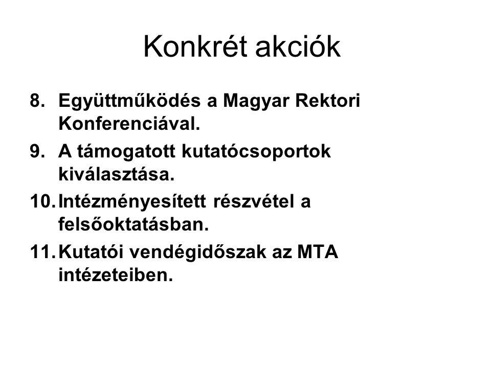 Konkrét akciók 8.Együttműködés a Magyar Rektori Konferenciával. 9.A támogatott kutatócsoportok kiválasztása. 10.Intézményesített részvétel a felsőokta