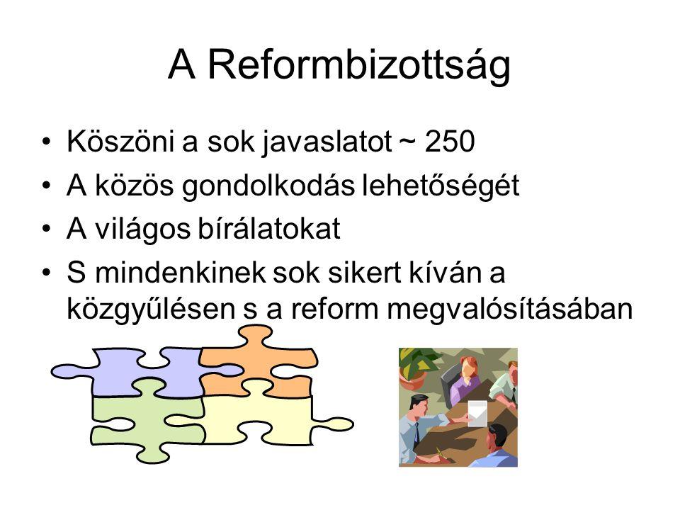 A Reformbizottság Köszöni a sok javaslatot ~ 250 A közös gondolkodás lehetőségét A világos bírálatokat S mindenkinek sok sikert kíván a közgyűlésen s a reform megvalósításában