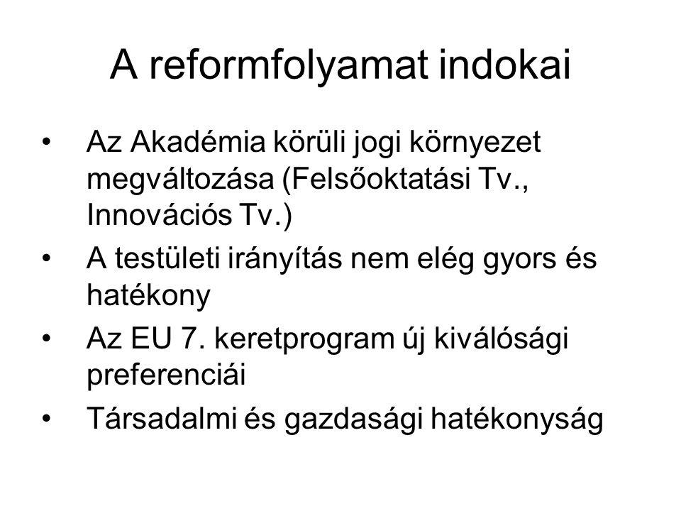 A reformfolyamat indokai Az Akadémia körüli jogi környezet megváltozása (Felsőoktatási Tv., Innovációs Tv.) A testületi irányítás nem elég gyors és hatékony Az EU 7.