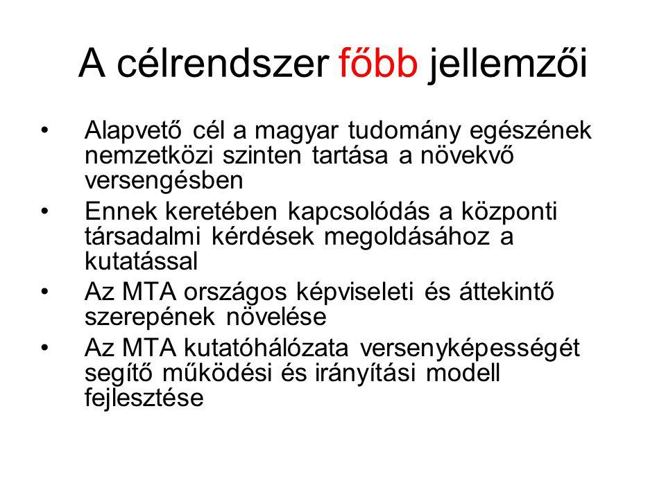 A célrendszer főbb jellemzői Alapvető cél a magyar tudomány egészének nemzetközi szinten tartása a növekvő versengésben Ennek keretében kapcsolódás a központi társadalmi kérdések megoldásához a kutatással Az MTA országos képviseleti és áttekintő szerepének növelése Az MTA kutatóhálózata versenyképességét segítő működési és irányítási modell fejlesztése