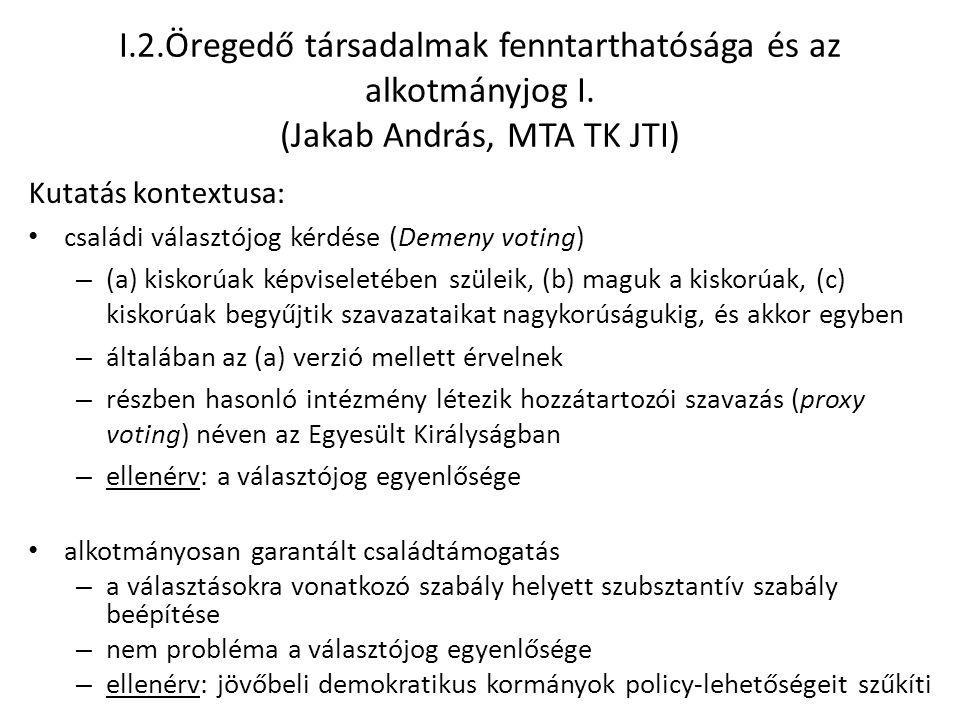 I.2.Öregedő társadalmak fenntarthatósága és az alkotmányjog I. (Jakab András, MTA TK JTI) Kutatás kontextusa: családi választójog kérdése (Demeny voti