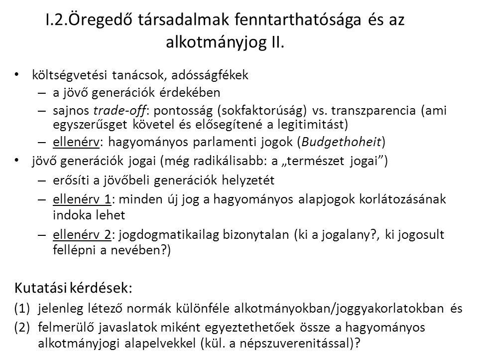 I.2.Öregedő társadalmak fenntarthatósága és az alkotmányjog II.