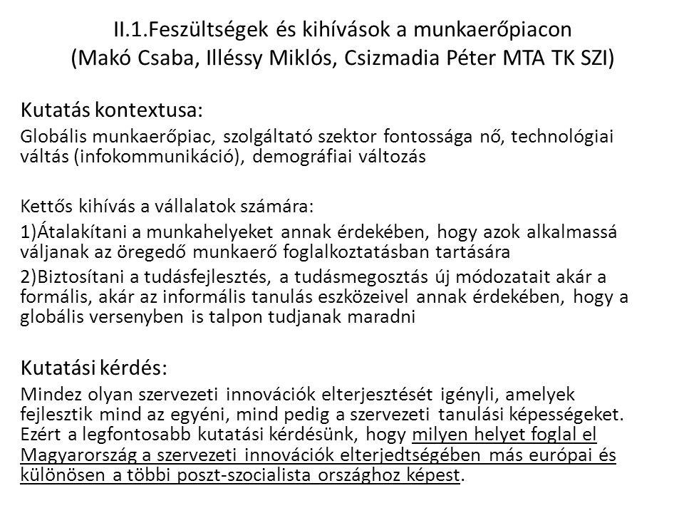 II.1.Feszültségek és kihívások a munkaerőpiacon (Makó Csaba, Illéssy Miklós, Csizmadia Péter MTA TK SZI) Kutatás kontextusa: Globális munkaerőpiac, sz