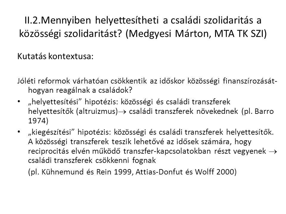 II.2.Mennyiben helyettesítheti a családi szolidaritás a közösségi szolidaritást? (Medgyesi Márton, MTA TK SZI) Kutatás kontextusa: Jóléti reformok vár