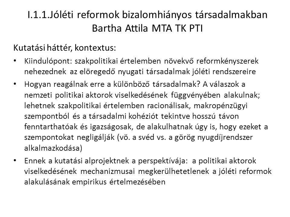 I.1.1.Jóléti reformok bizalomhiányos társadalmakban Bartha Attila MTA TK PTI Kutatási háttér, kontextus: Kiindulópont: szakpolitikai értelemben növekv