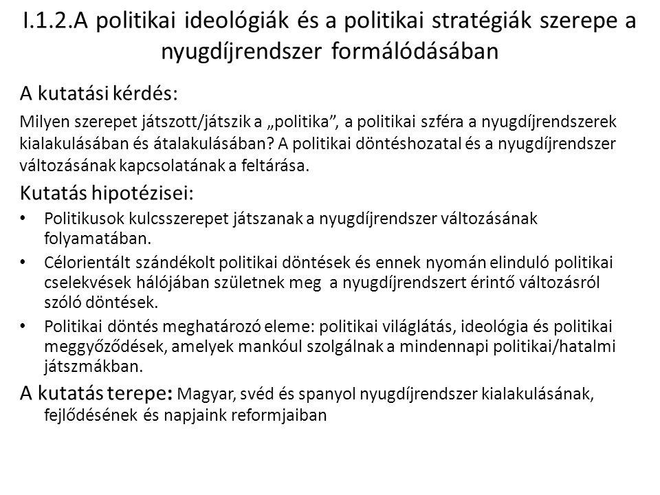 I.1.2.A politikai ideológiák és a politikai stratégiák szerepe a nyugdíjrendszer formálódásában A kutatási kérdés: Milyen szerepet játszott/játszik a