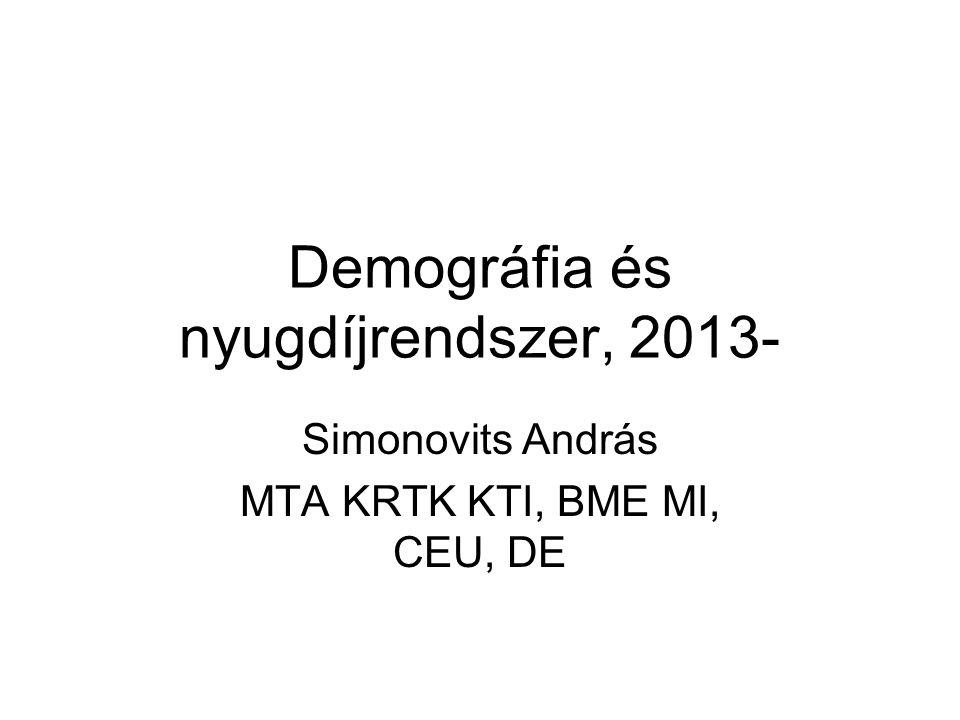 Demográfia és nyugdíjrendszer, 2013- Simonovits András MTA KRTK KTI, BME MI, CEU, DE