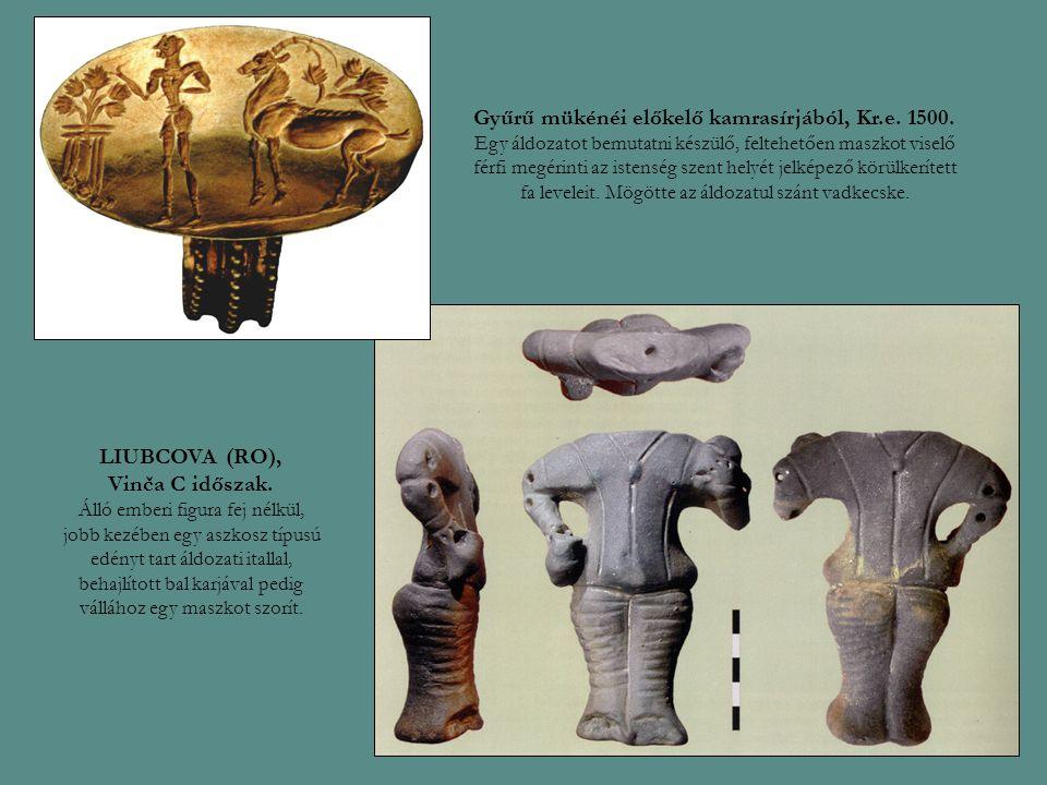 Gyűrű mükénéi előkelő kamrasírjából, Kr.e. 1500. Egy áldozatot bemutatni készülő, feltehetően maszkot viselő férfi megérinti az istenség szent helyét