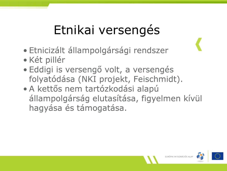 Etnikai versengés Etnicizált állampolgársági rendszer Két pillér Eddigi is versengő volt, a versengés folyatódása (NKI projekt, Feischmidt). A kettős