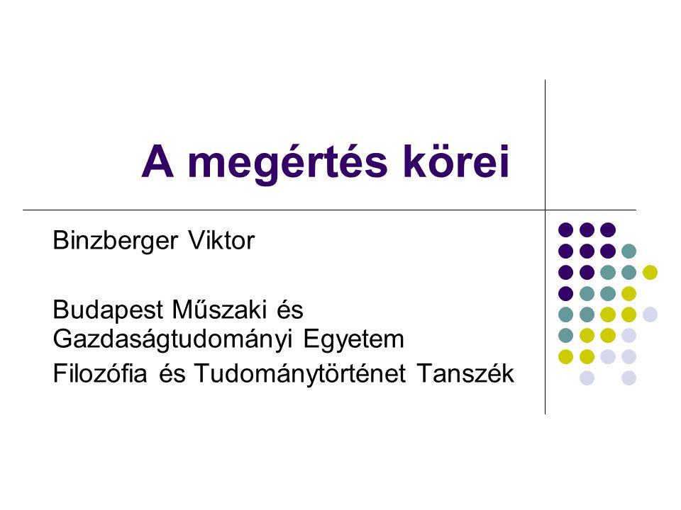 A megértés körei Binzberger Viktor Budapest Műszaki és Gazdaságtudományi Egyetem Filozófia és Tudománytörténet Tanszék