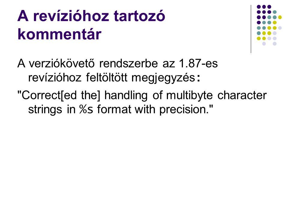 A revízióhoz tartozó kommentár A verziókövető rendszerbe az 1.87-es revízióhoz feltöltött megjegyzés : Correct[ed the] handling of multibyte character strings in %s format with precision.
