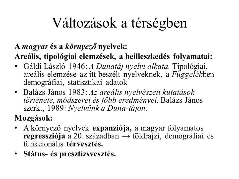 Változások a térségben A magyar és a környező nyelvek: Areális, tipológiai elemzések, a beilleszkedés folyamatai: Gáldi László 1946: A Dunatáj nyelvi alkata.