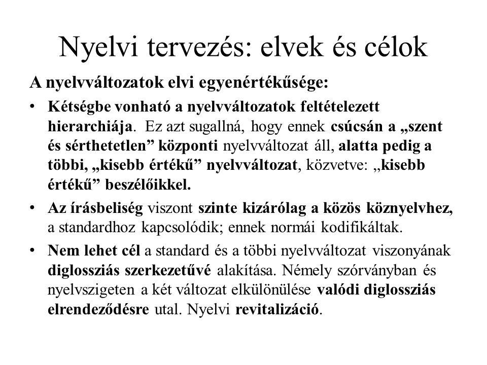 Nyelvi tervezés: elvek és célok A nyelvváltozatok elvi egyenértékűsége: Kétségbe vonható a nyelvváltozatok feltételezett hierarchiája.