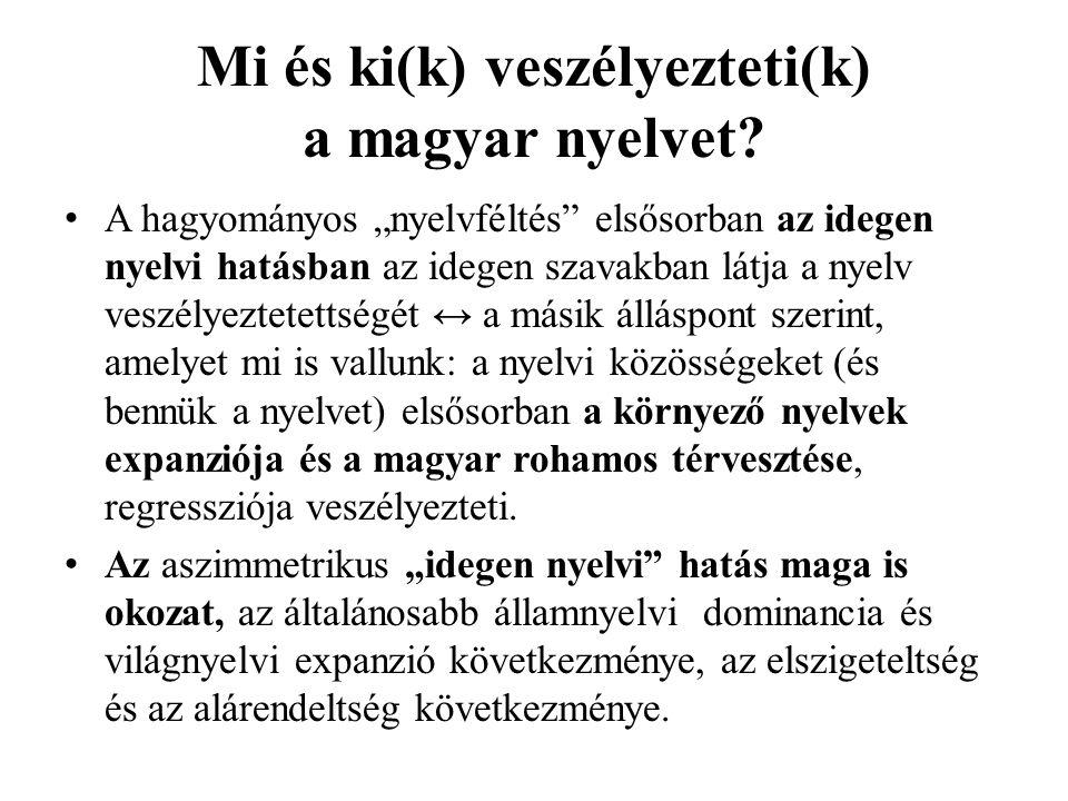 """Mi és ki(k) veszélyezteti(k) a magyar nyelvet? A hagyományos """"nyelvféltés"""" elsősorban az idegen nyelvi hatásban az idegen szavakban látja a nyelv vesz"""