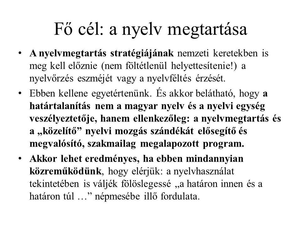Fő cél: a nyelv megtartása A nyelvmegtartás stratégiájának nemzeti keretekben is meg kell előznie (nem föltétlenül helyettesítenie!) a nyelvőrzés eszm