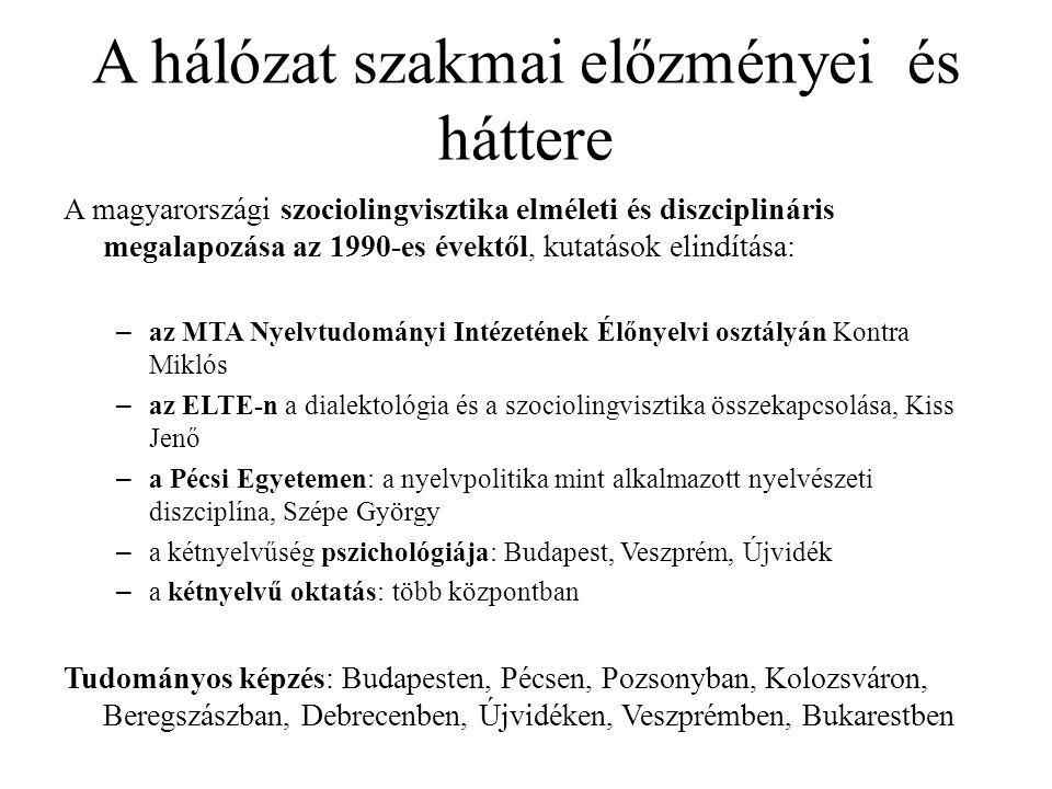 A hálózat szakmai előzményei és háttere A magyarországi szociolingvisztika elméleti és diszciplináris megalapozása az 1990-es évektől, kutatások elindítása: – az MTA Nyelvtudományi Intézetének Élőnyelvi osztályán Kontra Miklós – az ELTE-n a dialektológia és a szociolingvisztika összekapcsolása, Kiss Jenő – a Pécsi Egyetemen: a nyelvpolitika mint alkalmazott nyelvészeti diszciplína, Szépe György – a kétnyelvűség pszichológiája: Budapest, Veszprém, Újvidék – a kétnyelvű oktatás: több központban Tudományos képzés: Budapesten, Pécsen, Pozsonyban, Kolozsváron, Beregszászban, Debrecenben, Újvidéken, Veszprémben, Bukarestben