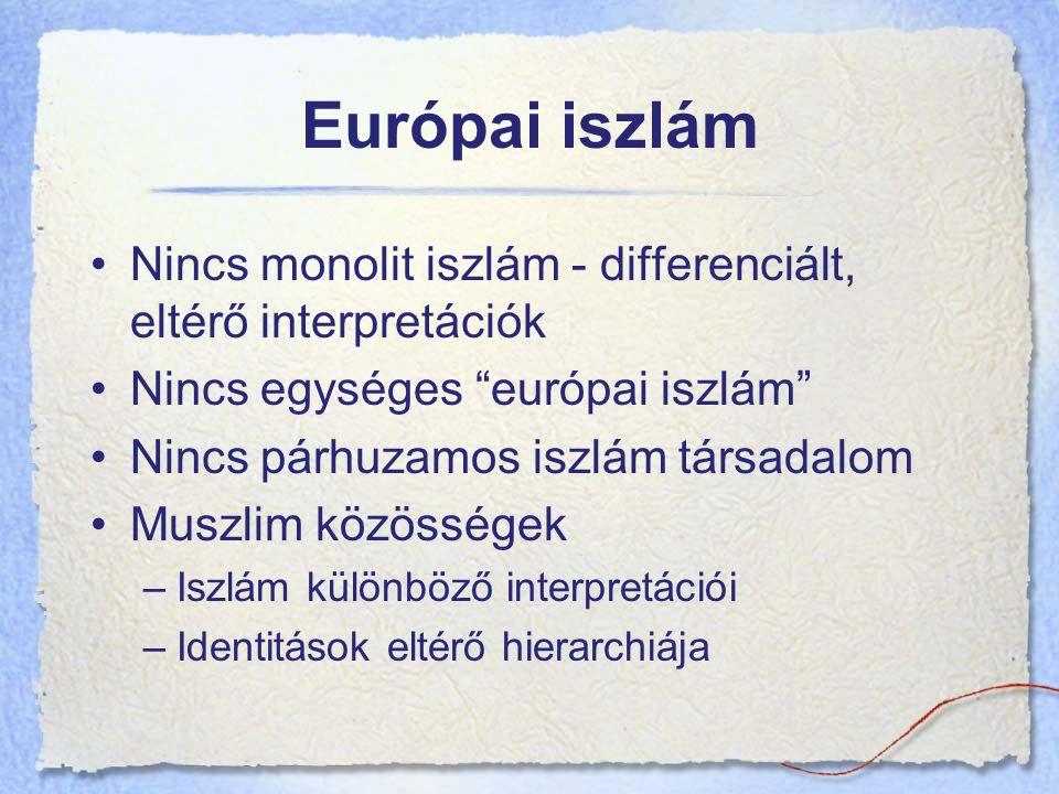 Európai iszlám Nincs monolit iszlám - differenciált, eltérő interpretációk Nincs egységes európai iszlám Nincs párhuzamos iszlám társadalom Muszlim közösségek –Iszlám különböző interpretációi –Identitások eltérő hierarchiája