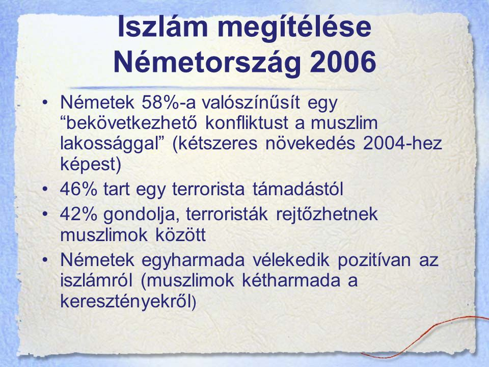 Iszlám megítélése Németország 2006 Németek 58%-a valószínűsít egy bekövetkezhető konfliktust a muszlim lakossággal (kétszeres növekedés 2004-hez képest) 46% tart egy terrorista támadástól 42% gondolja, terroristák rejtőzhetnek muszlimok között Németek egyharmada vélekedik pozitívan az iszlámról (muszlimok kétharmada a keresztényekről )