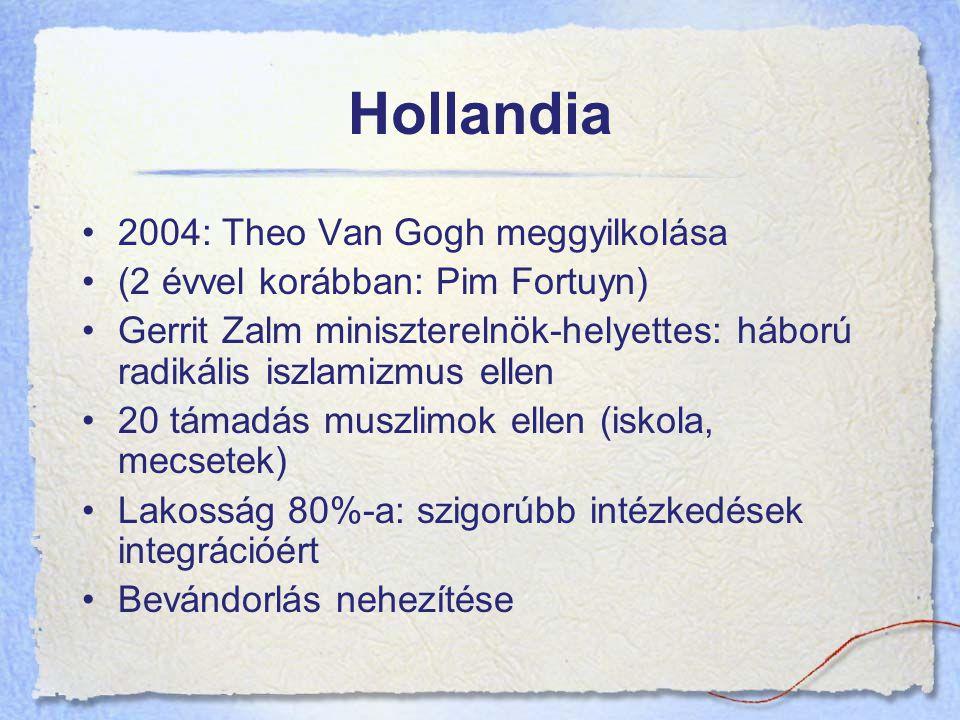 Hollandia 2004: Theo Van Gogh meggyilkolása (2 évvel korábban: Pim Fortuyn) Gerrit Zalm miniszterelnök-helyettes: háború radikális iszlamizmus ellen 20 támadás muszlimok ellen (iskola, mecsetek) Lakosság 80%-a: szigorúbb intézkedések integrációért Bevándorlás nehezítése