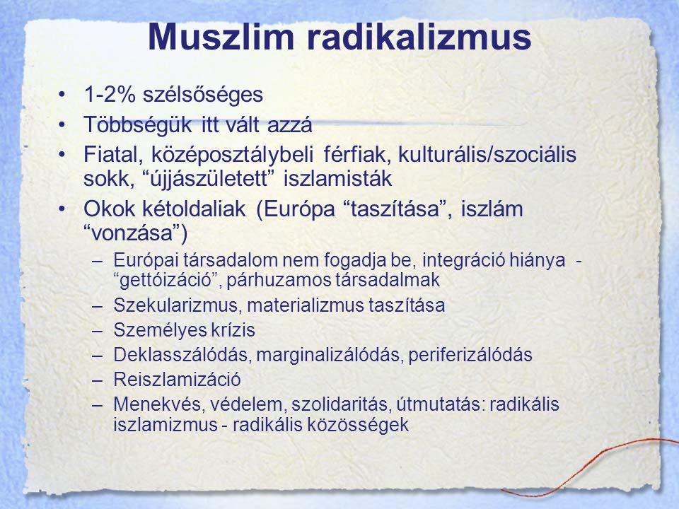 Muszlim radikalizmus 1-2% szélsőséges Többségük itt vált azzá Fiatal, középosztálybeli férfiak, kulturális/szociális sokk, újjászületett iszlamisták Okok kétoldaliak (Európa taszítása , iszlám vonzása ) –Európai társadalom nem fogadja be, integráció hiánya - gettóizáció , párhuzamos társadalmak –Szekularizmus, materializmus taszítása –Személyes krízis –Deklasszálódás, marginalizálódás, periferizálódás –Reiszlamizáció –Menekvés, védelem, szolidaritás, útmutatás: radikális iszlamizmus - radikális közösségek