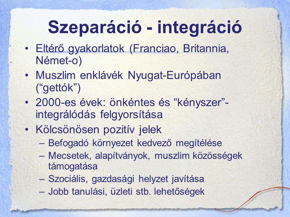 Eltérő gyakorlatok (Franciao, Britannia, Német-o) Muszlim enklávék Nyugat-Európában ( gettók ) 2000-es évek: önkéntes és kényszer - integrálódás felgyorsítása Kölcsönösen pozitív jelek –Befogadó környezet kedvező megítélése –Mecsetek, alapítványok, muszlim közösségek támogatása –Szociális, gazdasági helyzet javítása –Jobb tanulási, üzleti stb.