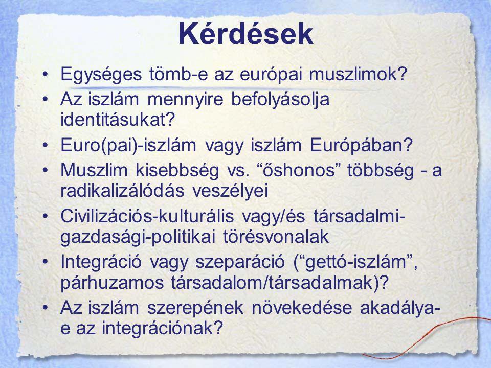 Kérdések Egységes tömb-e az európai muszlimok.Az iszlám mennyire befolyásolja identitásukat.