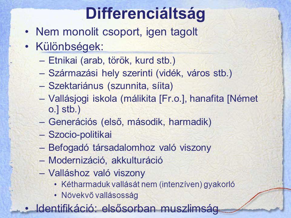 Differenciáltság Nem monolit csoport, igen tagolt Különbségek: –Etnikai (arab, török, kurd stb.) –Származási hely szerinti (vidék, város stb.) –Szektariánus (szunnita, síita) –Vallásjogi iskola (málikita [Fr.o.], hanafita [Német o.] stb.) –Generációs (első, második, harmadik) –Szocio-politikai –Befogadó társadalomhoz való viszony –Modernizáció, akkulturáció –Valláshoz való viszony Kétharmaduk vallását nem (intenzíven) gyakorló Növekvő vallásosság Identifikáció: elsősorban muszlimság