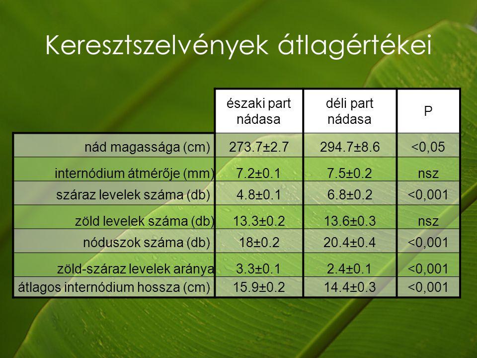 Keresztszelvények átlagértékei északi part nádasa déli part nádasa P nád magassága (cm) 273.7±2.7 294.7±8.6<0,05 internódium átmérője (mm)7.2±0.17.5±0.2nsz száraz levelek száma (db) 4.8±0.1 6.8±0.2<0,001 zöld levelek száma (db)13.3±0.213.6±0.3nsz nóduszok száma (db) 18±0.2 20.4±0.4<0,001 zöld-száraz levelek aránya3.3±0.12.4±0.1<0,001 átlagos internódium hossza (cm) 15.9±0.2 14.4±0.3<0,001