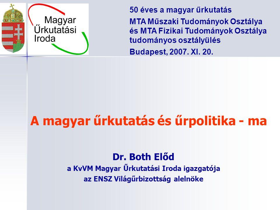 A magyar űrkutatás és űrpolitika - ma Dr. Both Előd a KvVM Magyar Űrkutatási Iroda igazgatója az ENSZ Világűrbizottság alelnöke 50 éves a magyar űrkut