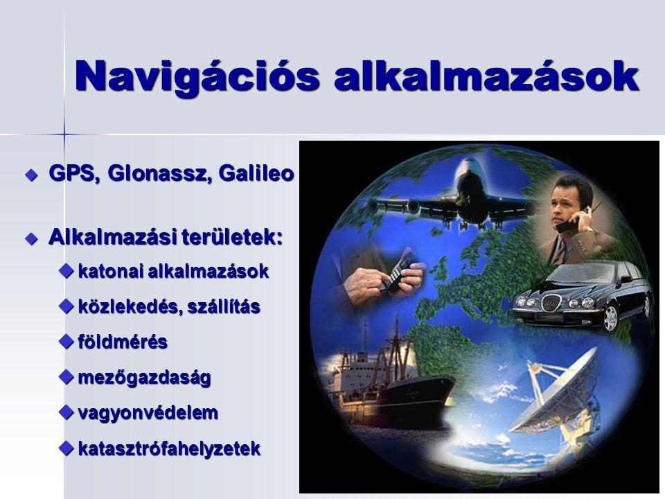 Navigációs alkalmazások u GPS, Glonassz, Galileo u Alkalmazási területek: ukatonai alkalmazások uközlekedés, szállítás uföldmérés umezőgazdaság uvagyo