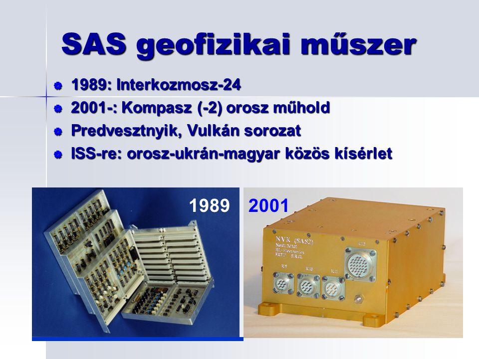 SAS geofizikai műszer   1989: Interkozmosz-24   2001-: Kompasz (-2) orosz műhold   Predvesztnyik, Vulkán sorozat   ISS-re: orosz-ukrán-magyar közös kí